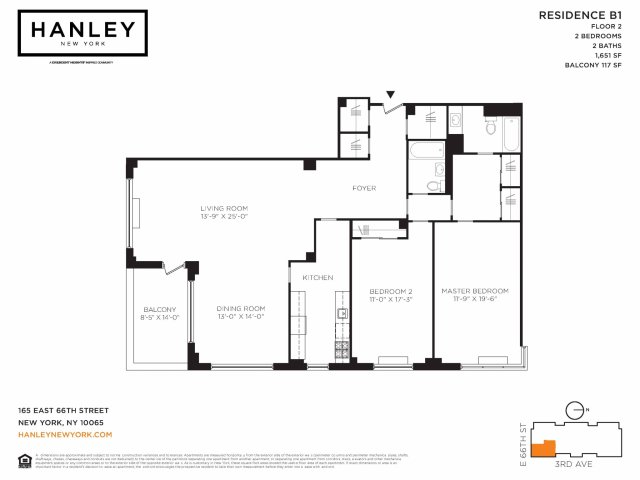 2 Bed 2 Bath Apartment In New York Ny Hanley New York