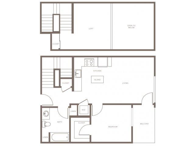 One Bedroom w/ Loft- A2L