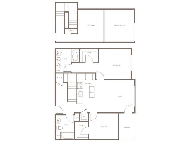 Two Bedroom w/ Loft- B1L