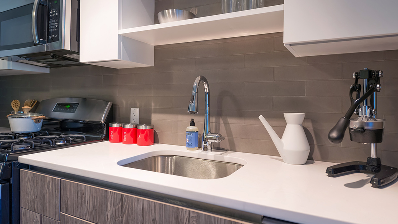 Quartz Counters and Tile Backsplash