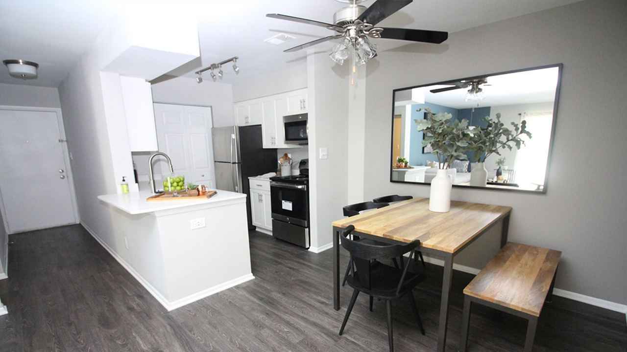 Spacious Dining Room next to Open Concept Kitchen