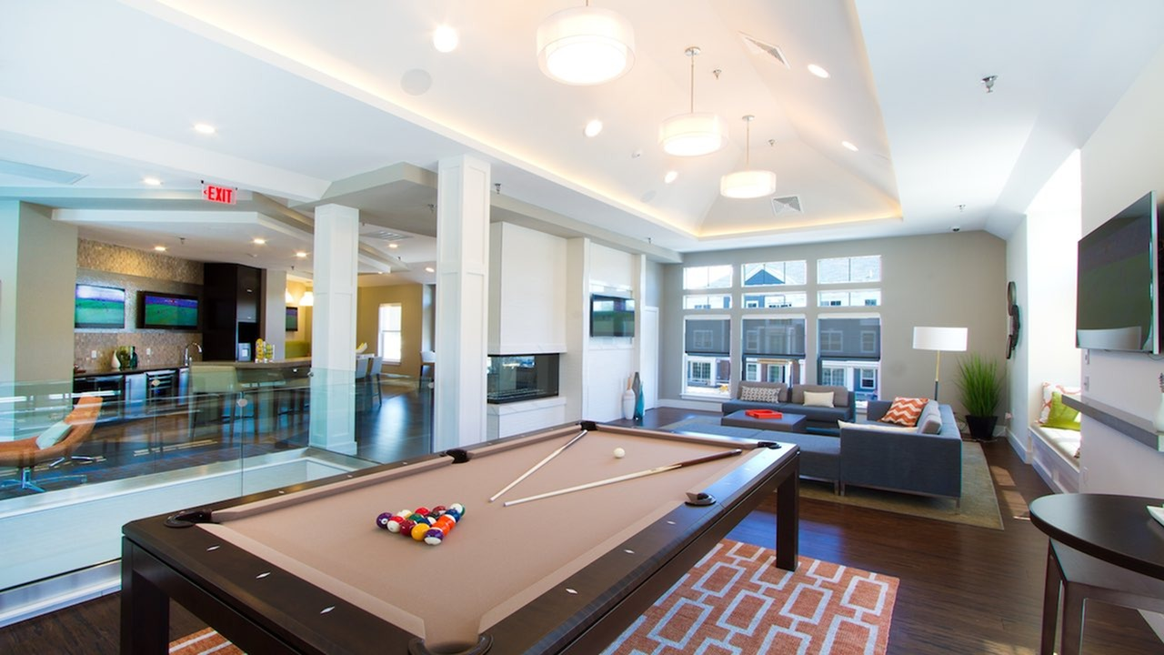 Game Room with Billiards Table, Fireplace and Televisions