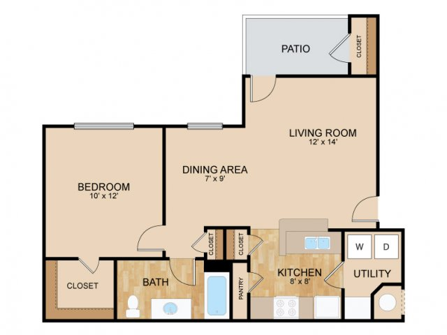 One Bedroom Floor Plans | Bellevue Apartments | The Landings Apartments