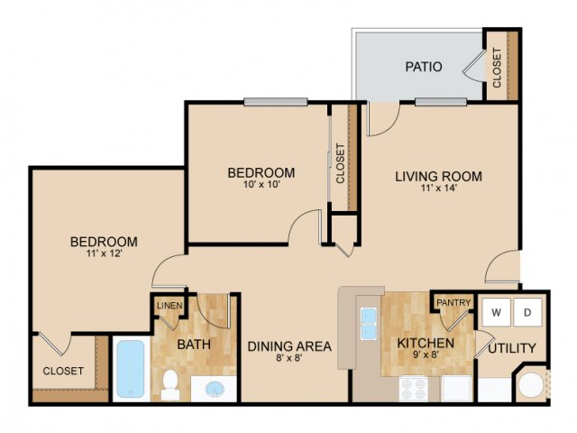 Two Bedroom Floor Plans | Bellevue Apartments | The Landings Apartments
