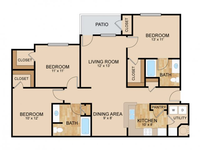 Three Bedroom Floor Plans | Bellevue Apartments | The Landings Apartments