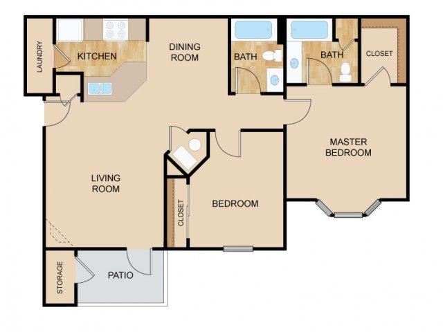 Two Bedroom Floor Plans   Bellevue Apartments   The Vue