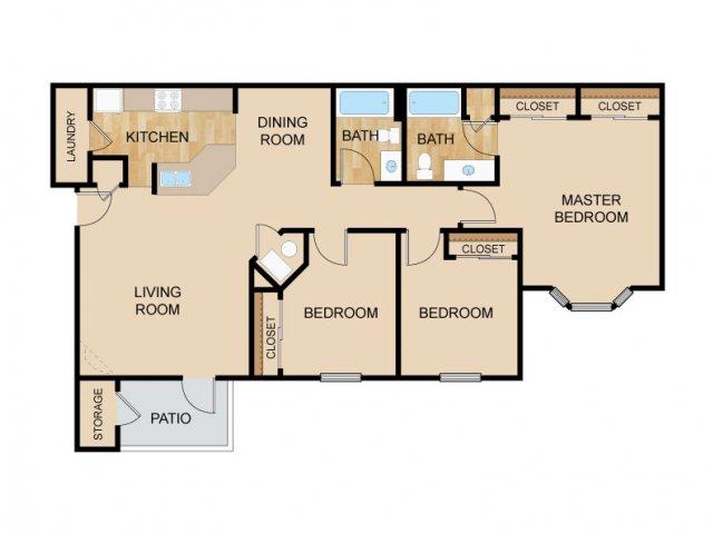 Three Bedroom Floor Plans   Bellevue Apartments   The Vue