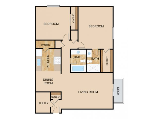 Two Bedroom Floor Plans 1 | Apartments In Papillion Ne | Huntington Park