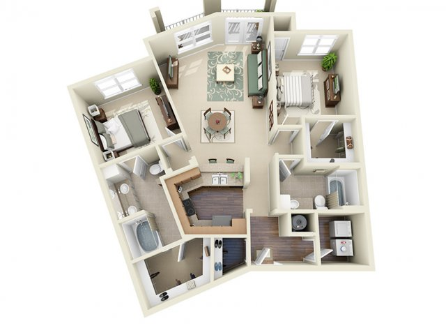 2 Bedroom Floor Plan | Weston Lakeside 4