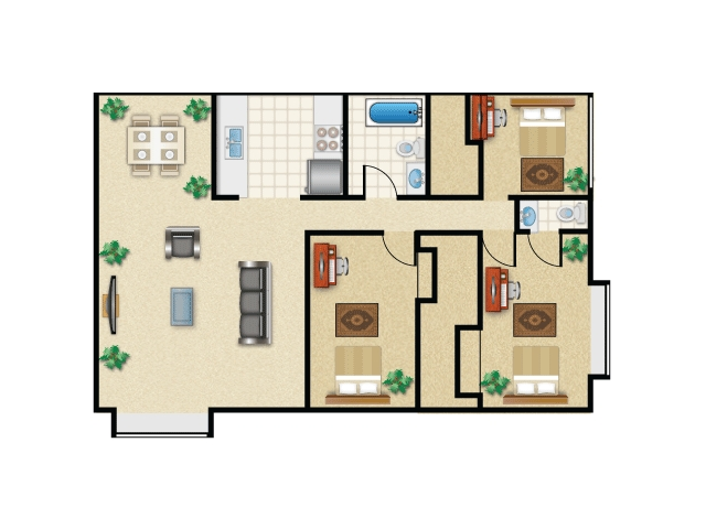 Campus View II 3 Bedroom with balcony