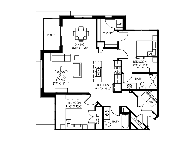 Corner unit w/extra large windows-9 foot+ ceilings-Stainless steel appliances-Wood plank floors-Extra large quartz kitchen island-Granite countertops in baths-Full-size washer and dryer-Walk in master closet with window-Large patio or deck