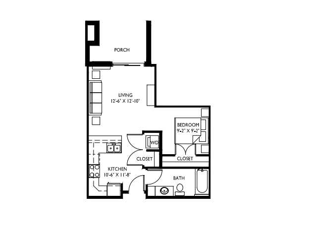 Separate, private sleeping area-9 foot ceilings-Large windows-Stainless steel appliances-Wood plank floors -Granite countertops in baths - Breakfast bar-Washer and dryer - Patio or deck