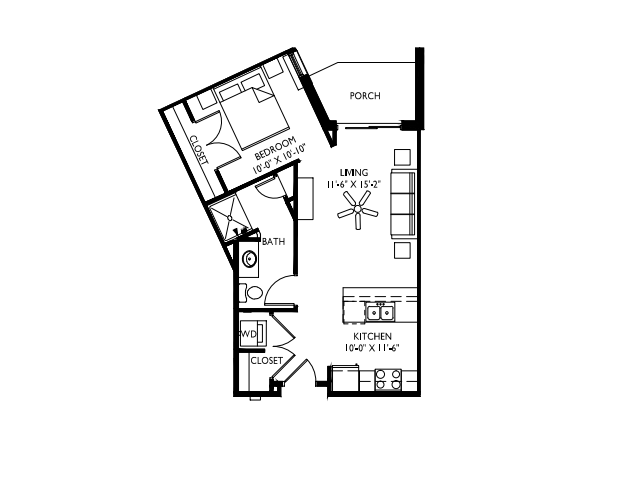 Separate, private sleeping area-9 foot ceilings-Large windows-Stainless steel appliances-Wood plank floors-Quartz kitchen island-Granite countertops in baths -Washer and dryer- Patio or deck