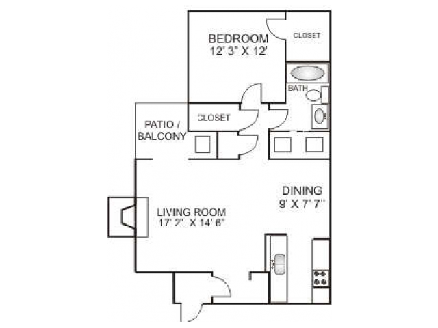 One Bedroom / One Bathroom 780 sqft, Full Size Washer/Dryer in every home.