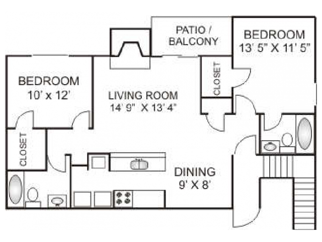 Two Bedroom / Two Bathroom 960 sqft, Full Size Washer/Dryer in every home.