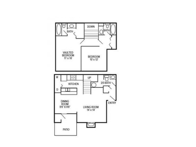 Two Bedroom | Two and Half Bathroom | 1075 sqft