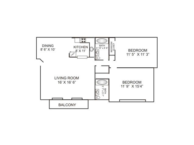Two Bedroom | Two Bathroom | 1000 sqft