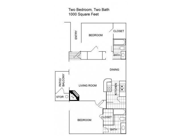 Floor Plan 6 | Two Bedroom Apartments Austin Tx | Centennial Place Apartments
