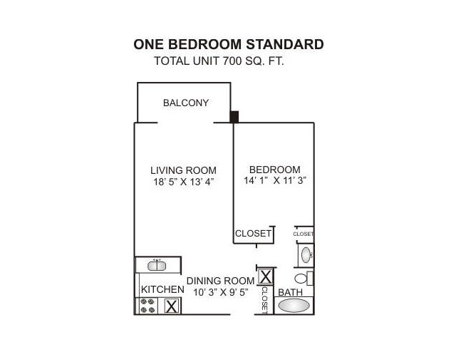 Floor Plan 1 | Luxury Apartments In Charlotte Nc | Charlotte Woods