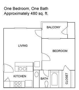 One Bedroom | 480 sqft