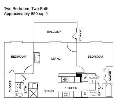 Two Bedroom | 850 sqft