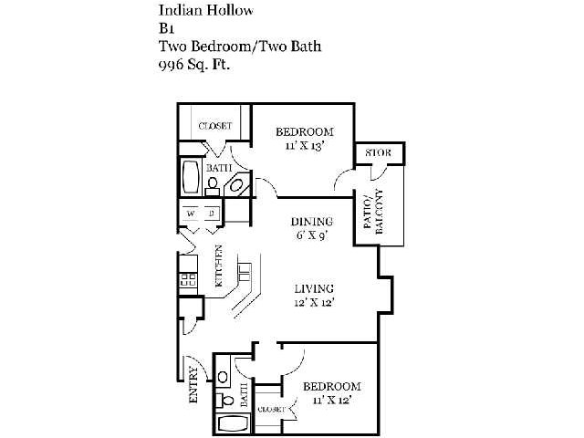 Two Bedroom | Two Bathroom | 996 sqft