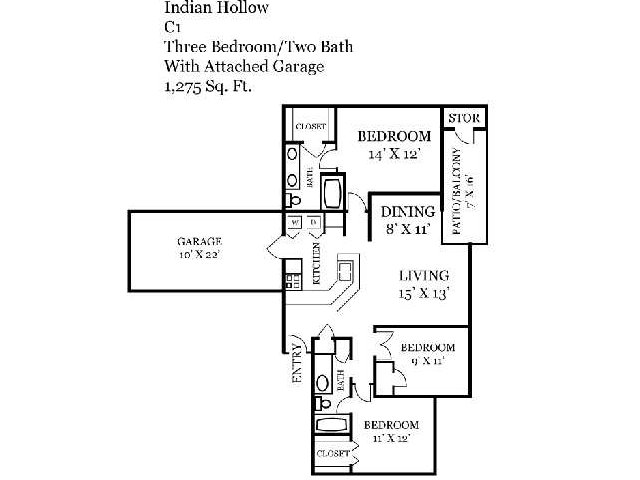 Three Bedroom | Two Bathroom | 1275 sqft