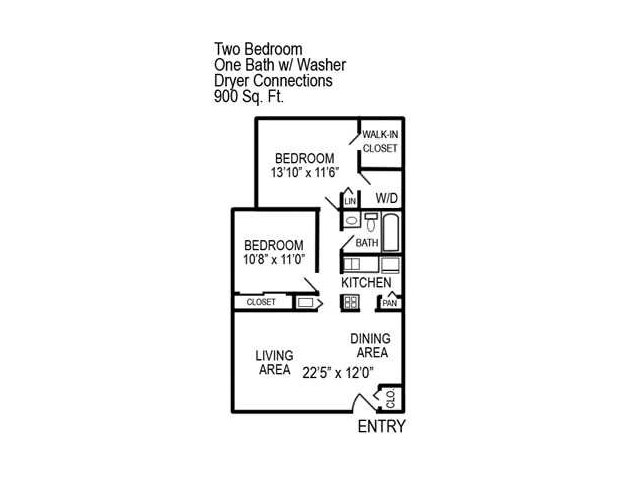 Two Bedroom | One Bathroom | Washer/Dryer Connections | 900 sqft