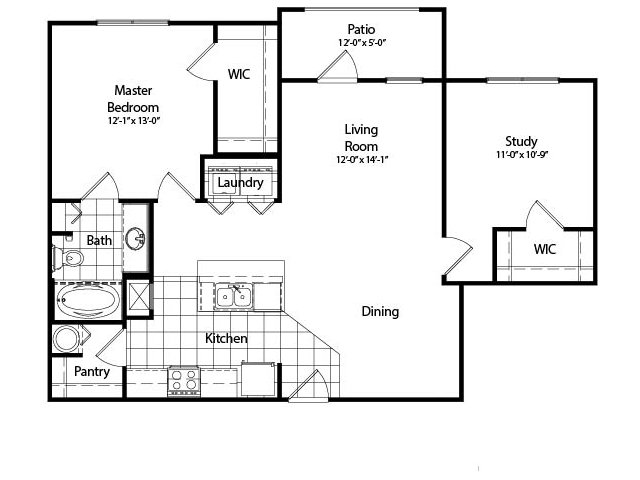 Two Bedroom Deluxe with Study | 1045 sqft