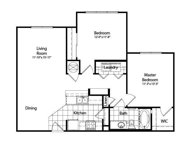 Two Bedroom | One Bathroom | 974 sqft
