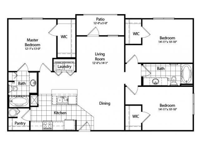 Three Bedroom | Two Bathroom | Deluxe | 1286 sqft