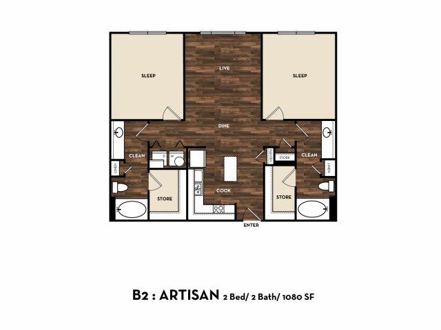 Floor Plan 8 | Luxury Apartments In San Antonio | 1800 Broadway