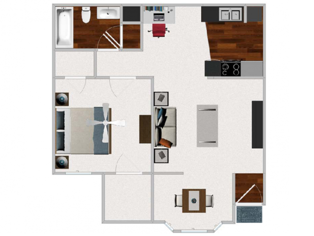 One Bedroom / One Bathroom with Morning Room, 711 sq ft home