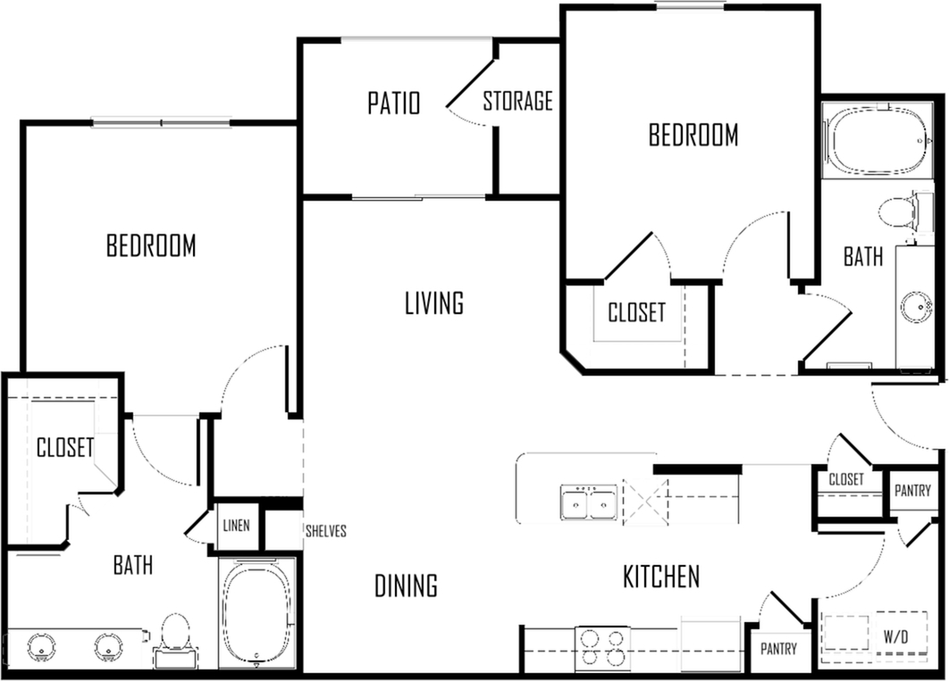 Two Bedroom | Two Bathroom | 1075 sqft
