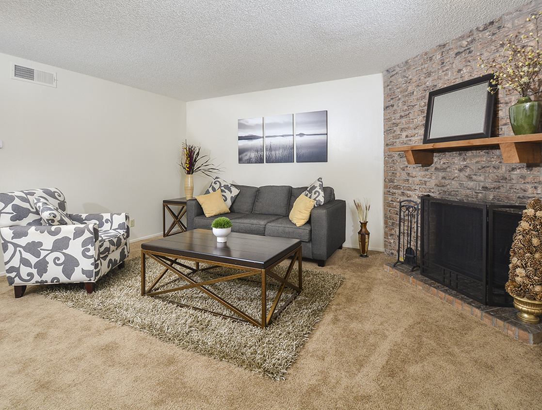 Living Area | Fireplace | Odessa Apartments | Country Crest