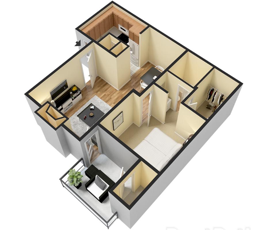1 Bedroom 565 sqft