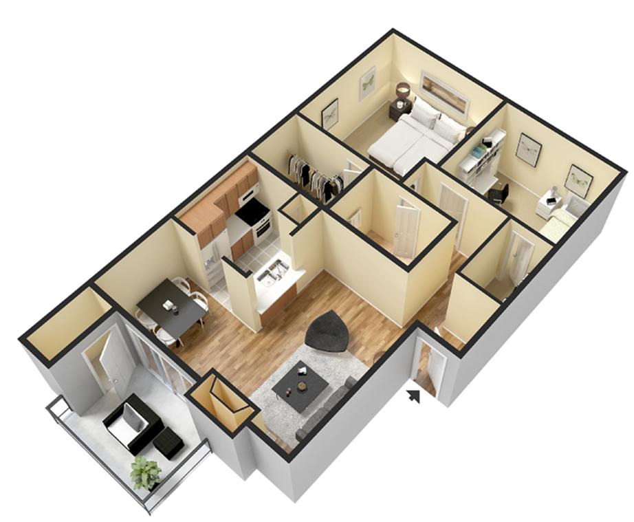Two Bedroom/1Bath 840 sqft