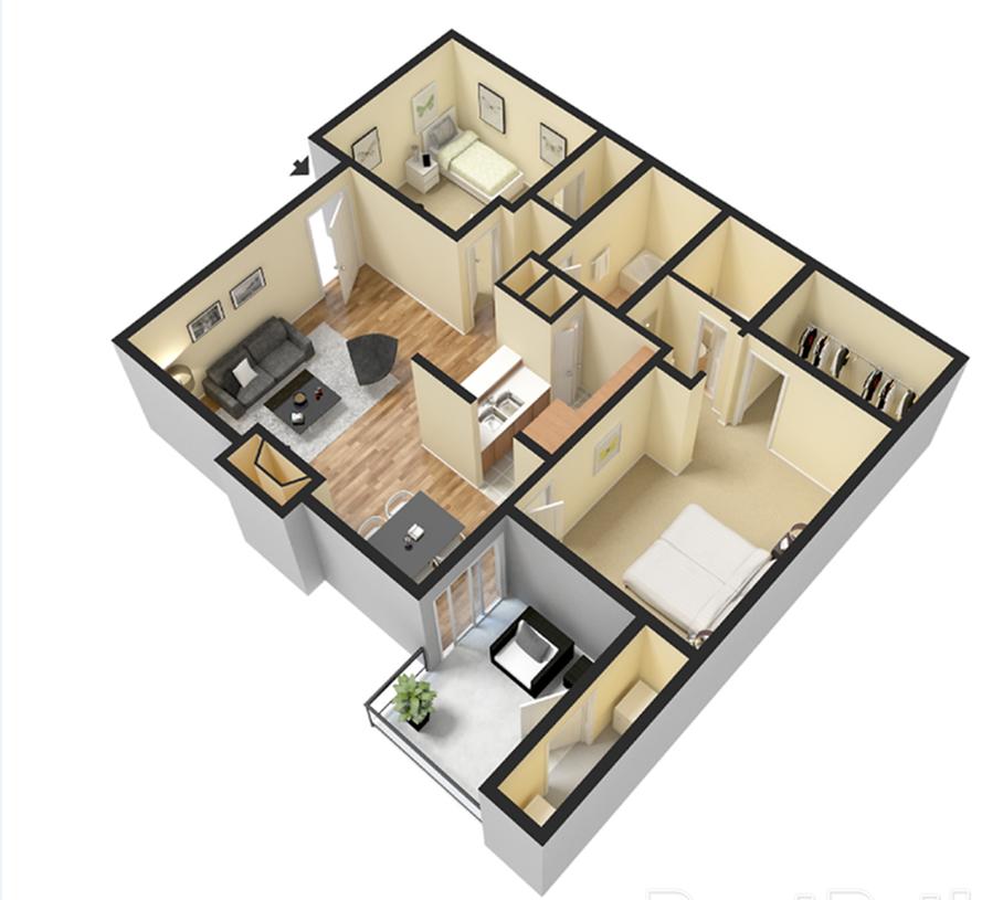Two Bedroom/Two Bath 900 sqft