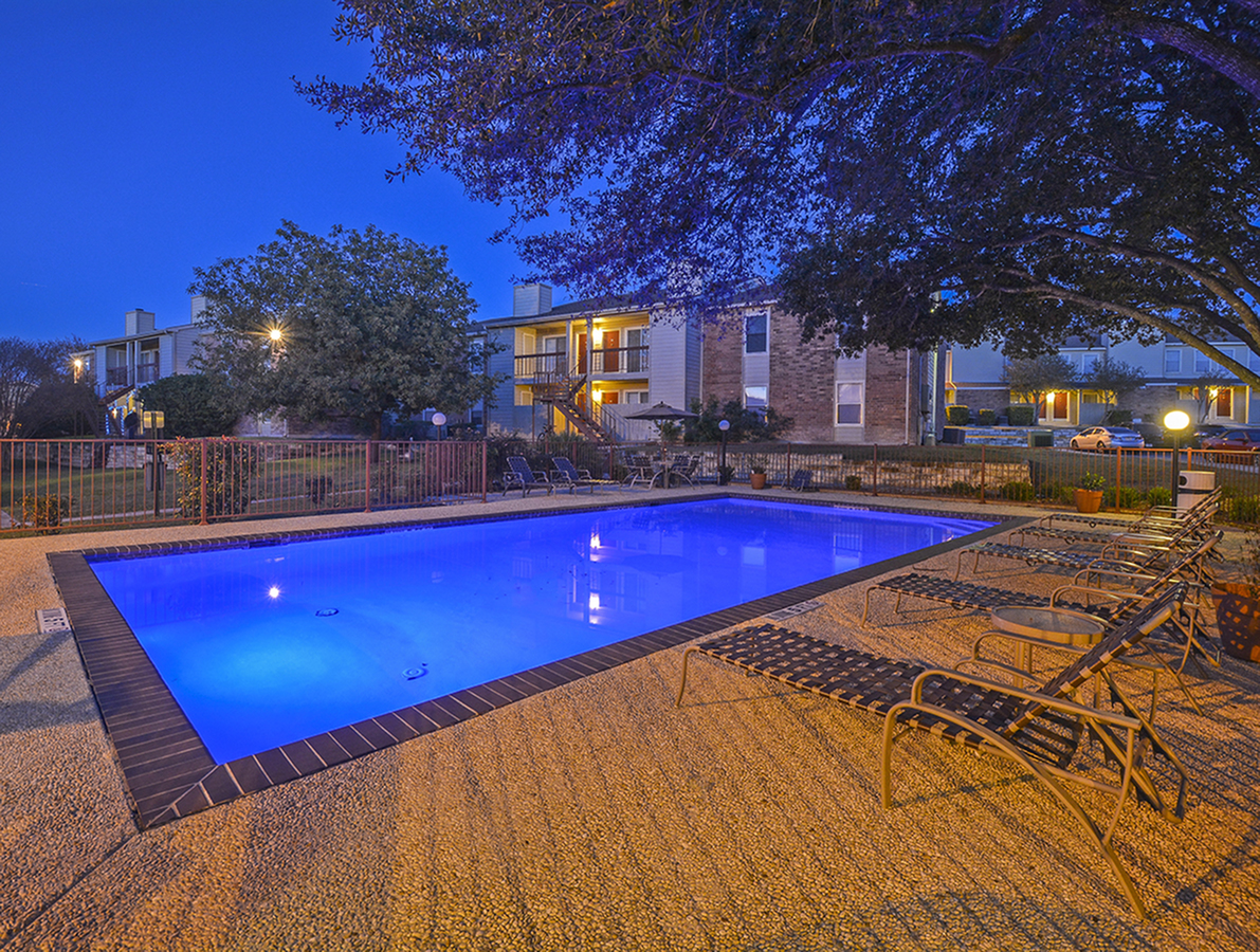 Pool at Night | Riverstone Apartments