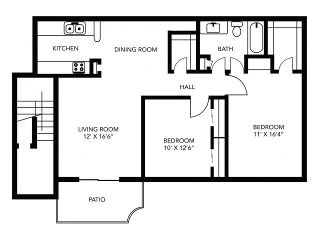 2 Bedroom 1 Bathroom  -940 sf