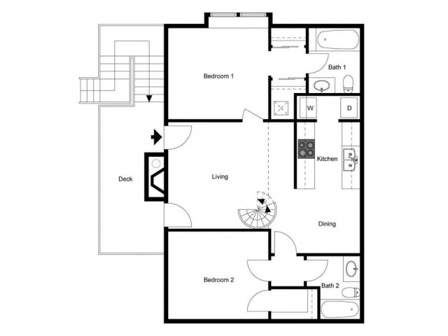 Two Bedroom Two bath, Second Floor, Loft Style