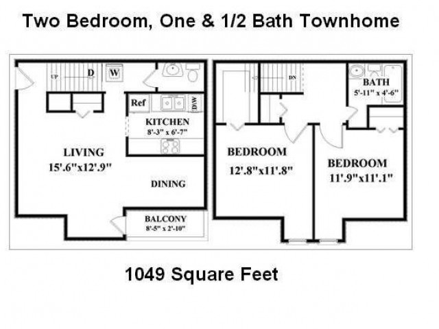 2 Bedroom, 1.5 Bathroom Townhome. Washer/Dryer connections in downstairs hall.  Kitchen has overhead cabinets  above stove.