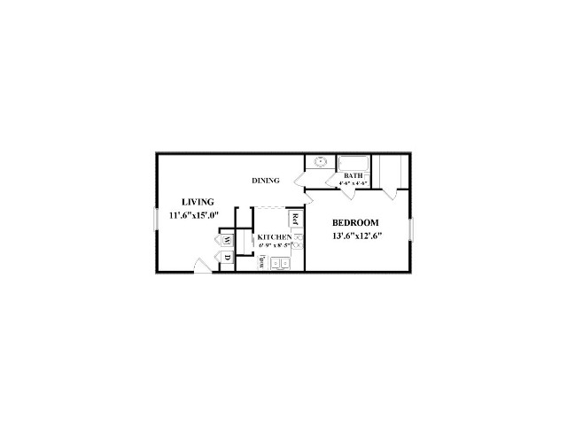 One bedroom, one bathroom.  Not all have washer/dryer connections.  Actual layout might be slightly different than floorplan shown.