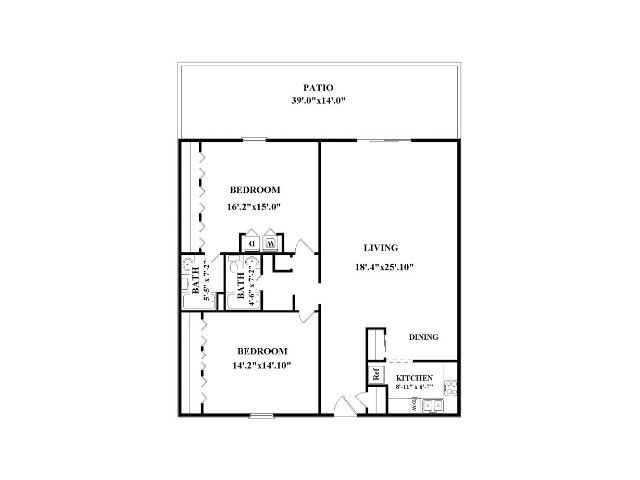 Two bedroom, two bathroom.  Not all have washer/dryer connections or patio/balcony.  Layout might be slightly different that floorplan shown.