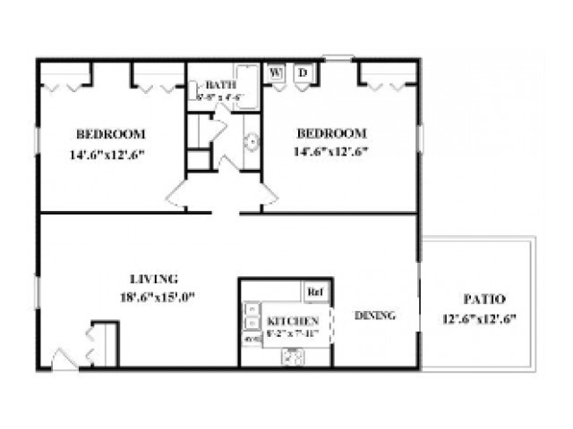 Two bedroom, one bathroom.  Not all have washer/dryer connections or patio/balcony. Actual layout may be slightly different than floorplan shown.