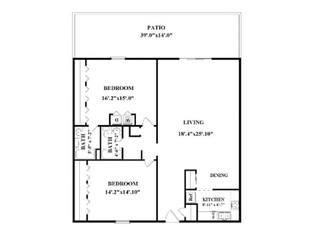 Two bedroom, two bathroom.  Not all have washer/dryer connections or patio/balcony.  Actual layout might be slightly different than floorplan shown.