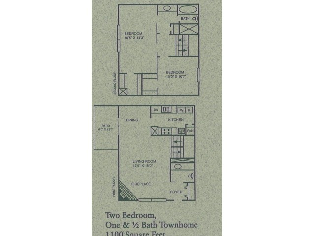 2 bed/ 1.5 bath Townhome