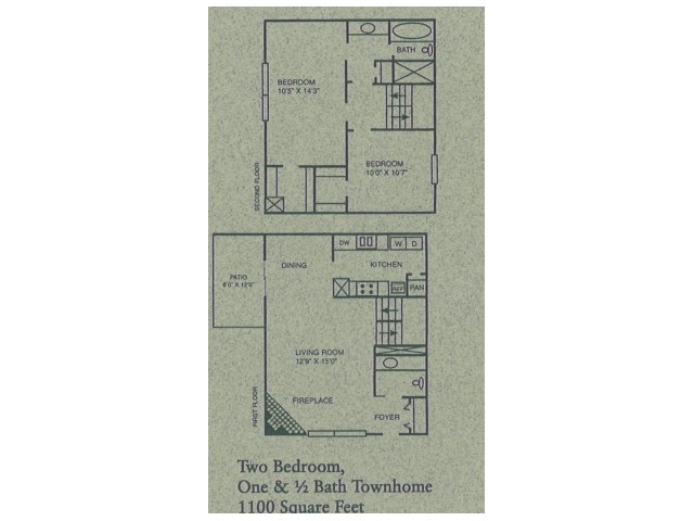 2 bed/1.5 bath townhome