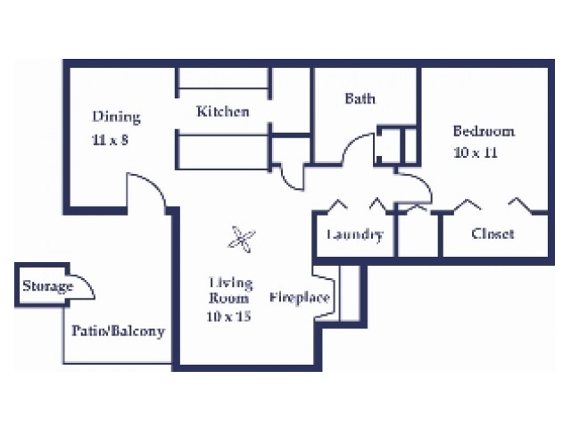 One Bedroom/One Bathroom Cypress Floorplan
