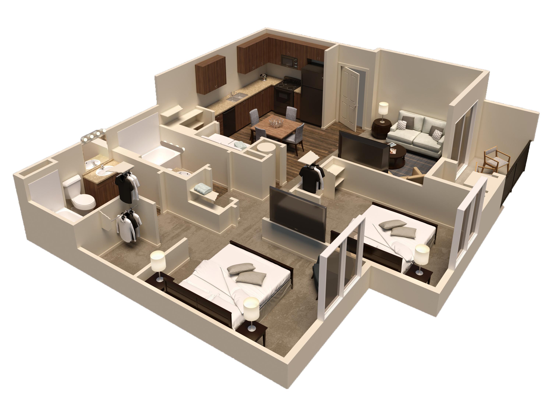 2 bed 2 bath rendering